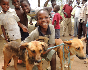 Children in Africa pose with their vaccinated dogs.
